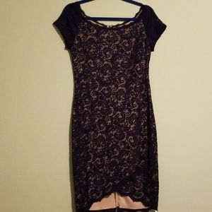 Dark blue lace dress with nude underlay